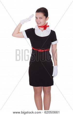 Air Hostess Saluting As She Welcomes You