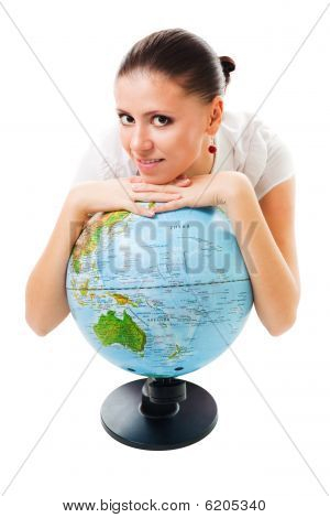 Positive Calm Woman With A Globe