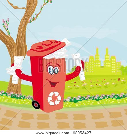 Recycling Red Bin With Papers - Character Illustration