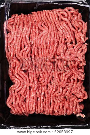 Close up on package of lean red raw ground meat