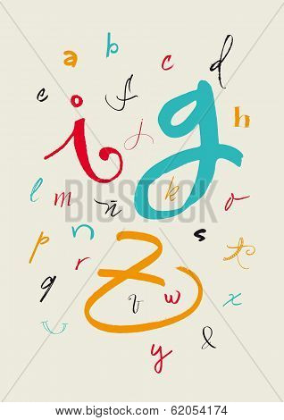 Calligraphic Hand Written Lowercase Alphabet