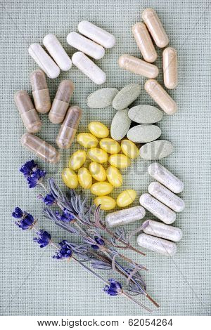Mix of herbal supplements and vitamin pills