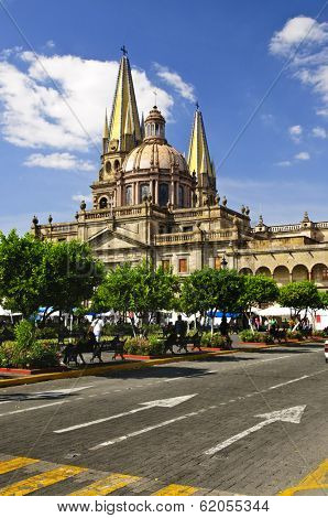 View of the Cathedral from Zocalo in historic center in Guadalajara, Jalisco, Mexico