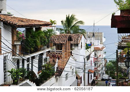Street leading to Pacific ocean in Puerto Vallarta, Mexico