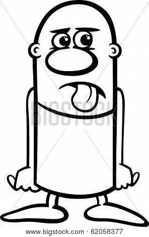 Disgusted Guy Cartoon Coloring Page