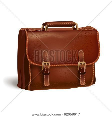 Classic brown leather briefcase