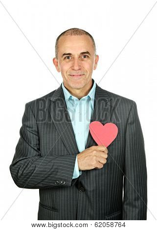 Smiling man holding paper heart isolated on white background