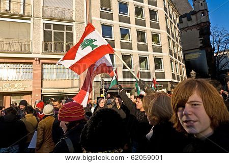 People Demonstrate Against The Bombing Of Gaza And For Freedom In Palestine And A An Own State For T
