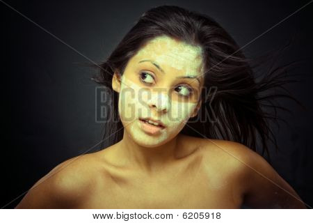 Cosmetician Make Mask To Girl. Facial Massage.
