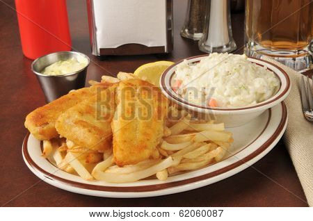 Fish Sticks With Coleslaw