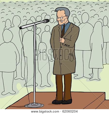 Man Speaking To Crowd