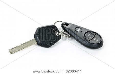 Car key and keychain fob isolated on white background
