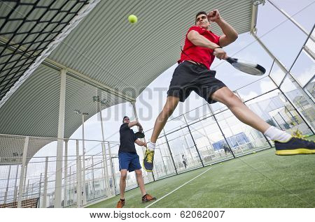 Wide Angle Paddle Tennis Action