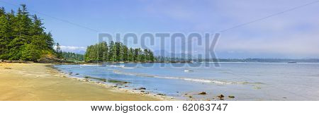 Panoramic view of Long Beach shore in Pacific Rim National park, Canada