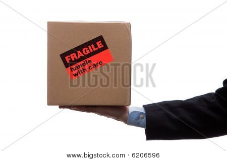 Man Holding Fragile Moving Box