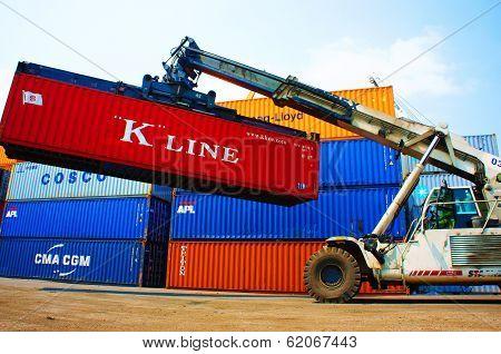 Forklift Truck Crane Container At Vietnam Freight Depot