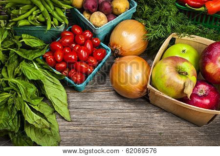 Fresh farmers market fruit and vegetable on display