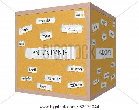 Antioxidants 3D Cube Corkboard Word Concept