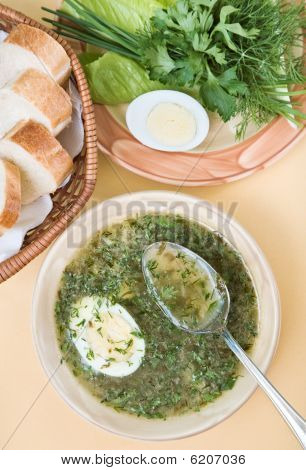 Green Chicken Soup With Egg
