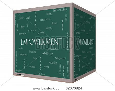 Empowerment Word Cloud Concept On A 3D Cube Blackboard