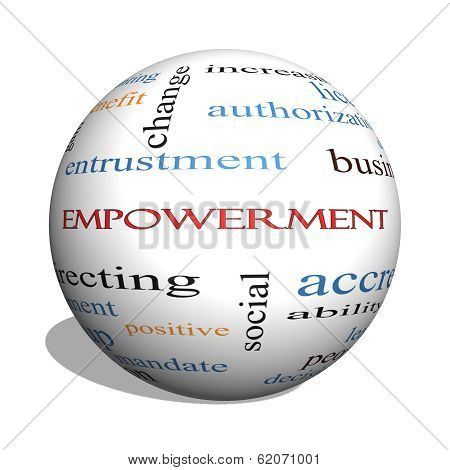 Empowerment 3D Sphere Word Cloud Concept