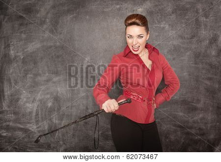 Woman With Whip In Her Hand