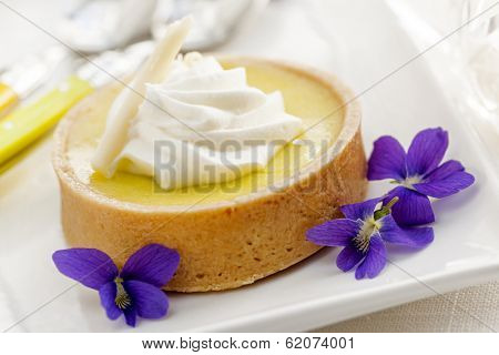 Fresh gourmet lemon dessert tart with edible violet flowers garnish