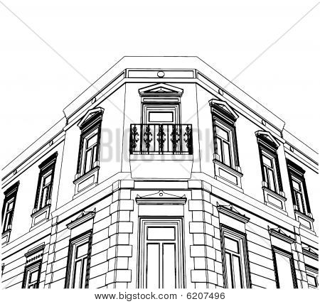 Building Corner Eclectic House Vector 02