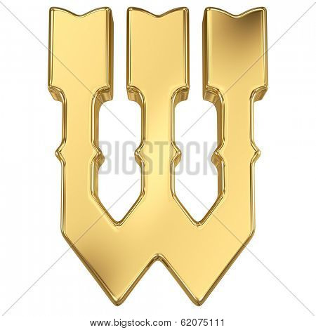 Letter W from gold solid western alphabet.