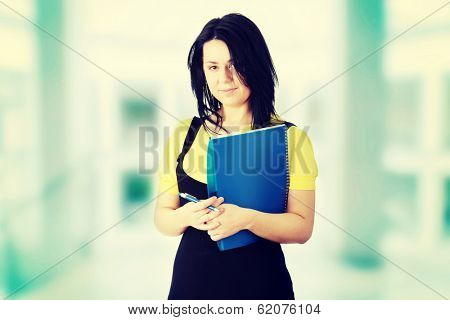 Young corpulency student  woman