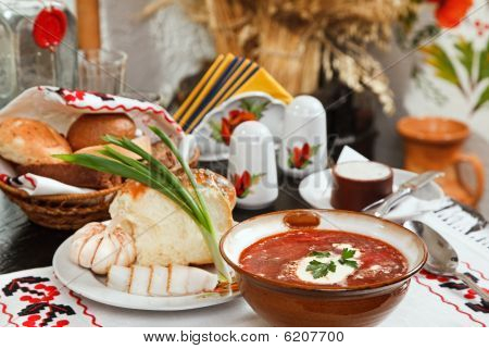 Ukrainian Borsch, Red-beet Soup With Pampushki, Lard And Garlic