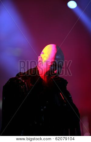 BUDAPEST, HUNGARY - AUG 11: Heavy Metal rock band Judas Priest in concert at the annual Sziget Festival in Budapest, Hungary, on Thursday, August 11, 2011. Seen here is  lead vocalist Rob Halford.