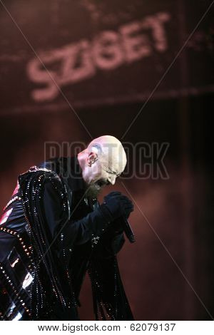 BUDAPEST, HUNGARY - AUG 11: Heavy Metal rock band Judas Priest in concert at the annual Sziget Festival in Budapest, Hungary, on Thursday, August 11, 2011 Seen here is lead vocalist Rob Halford.and lead guitarist Glenn Tipton.