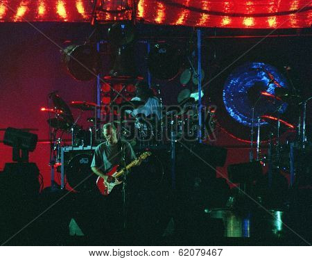 WASHINGTON DC - JULY 10: The band Pink Floyd plays in concert at RFK Stadium in Washington, D.C. on Sunday, July 10, 1994. The band members included  David Gilmour,  Nick Mason,  Roger Waters, and Richard Wright.