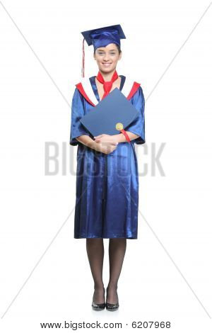 Graduate Student Holding Her Diploma