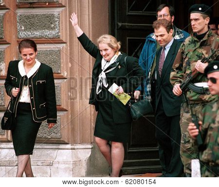 SARAJEVO, BOSNIA - MAY 1993: United States envoy Madeliene Albright emerges from the office of the presidency in the Bosnian capital Sarajevo on May 1993 in Sarajevo, Bosnia.