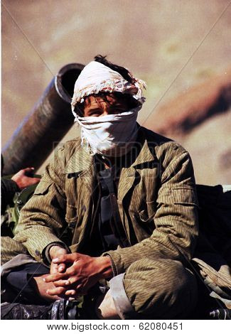 KABUL, AFGHANISTAN - OCT 21: Northfoto Alliance fighters prepare for battle with Taliban forces north of Kabul, Afghanistan on Monday, October 21, 1996