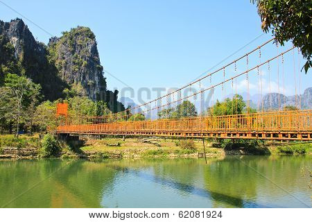 Bridge Over Song River, Vang Vieng, Laos.