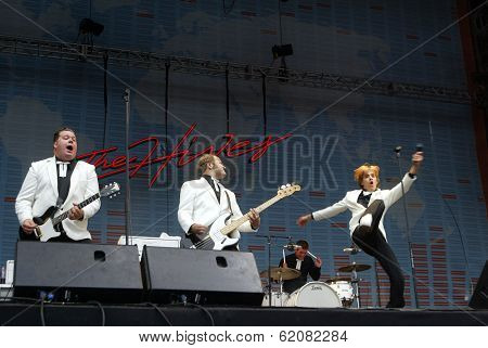 BUDAPEST - AUG 16: The Hives perform in concert at the annual Sziget Festival in Budapest, Hungary, on Tuesday, August 16, 2005. Seen here is lead singer Pelle Almqvist and guitarist Nicholaus Arson.