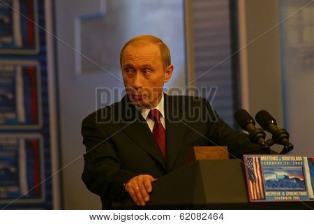 BRATISLAVA, SLOVAKIA - FEBRUARY 24: Russian president Vladimir Putin speak to the press after their summit in the Slovak capital, Bratislava on February 24, 2005 in Bratislava, Slovakia