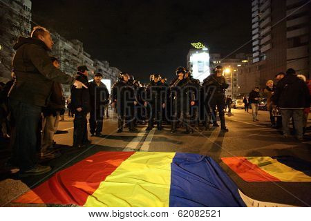 BUCHAREST, ROMANIA - JAN 19: Demonstrators protest against a series of unpopular austerity measures enacted by the government in Bucharest, Romania, on Thursday, January 19, 2012.
