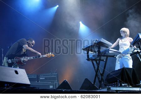 BUDAPEST, HUNGARY - AUGUST 10: Faithless perform at the annual Sziget music festival on August 10, 2004 in Budapest, Hungary. Seen here are keyboardest Sister Bliss and guitarist Rollo