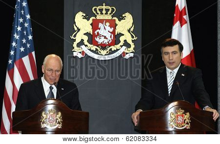 TBILISI, GEORGIA - AUGUST 4: United States Vice President Dick Cheney, left, attends a press conference with Georgian President Mikhail Saakashvili at the presidential palace in Tbilisi, Georgia, on Thursday, August 4, 2008.