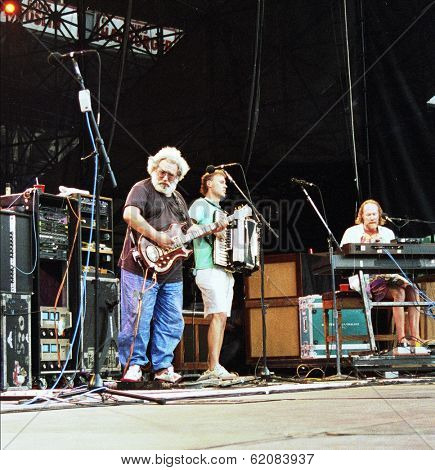 WASHINGTON, D.C. - JUNE 20: The Grateful Dead in concert in Washington, D.C., on Saturday, June 20, 1992. From left, Jerry Garcia,  Bruce Hornsby and Vince Welnick