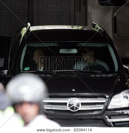 BUDAPEST - MAY 19: Actor Bruce Willis relaxes in his Mercedes SUV on the set of Die Hard 5: A Good Day To Die Hard currently being filmed in Budapest, Hungary, on Saturday, May 19, 2012.
