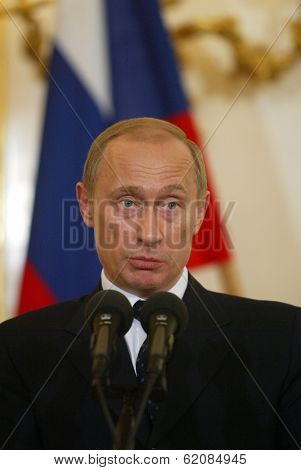BRATISLAVA FEBRUARY 25: Russian president Vladimir Putin answers questions at a press conference in Bratislava, Slovakia, on February 25, 2005.