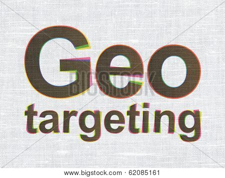 Finance concept: Geo Targeting on fabric texture background
