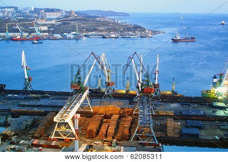 VLADIVOSTOK - NOVEMBER 24, 2002:  The port of Vladivostok, Russia, on November 24, 2002. The city is the capital of Russia's far east, and is the largest port on Russia's Pacific coast.