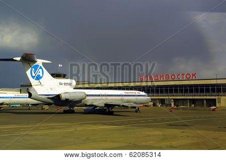 VLADIVOSTOK - NOVEMBER 24: A Russian Vladivostok Air TU-154 on the tamac at the airport at Vladivostok, Russia, on November 24, 2002. (C) Photo Credit: Mark H. Milstein/ Northfoto