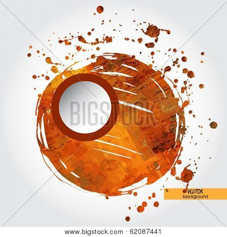 art frame on orange and brown watercolor and inkblot background with space for text